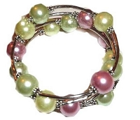 Large Size Bracelet Green and Pink Size 8, 9, 10 Inch