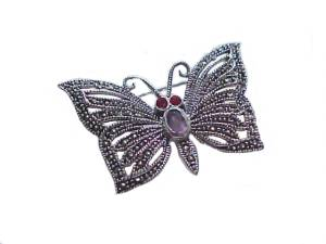 Sterling Silver Pin Marcasite Pin Garnet Butterfly