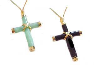 14K Gold Cross Necklace Jade or Black Onyx