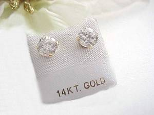 Round 14K Gold CZ Stud Earrings