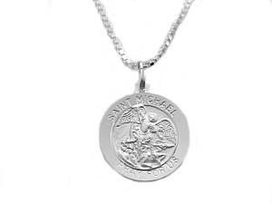 Men's Sterling Silver Saint Michael Medallion and Chain