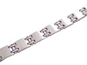 Men's Stainless Steel Bracelet Wide Brushed Link