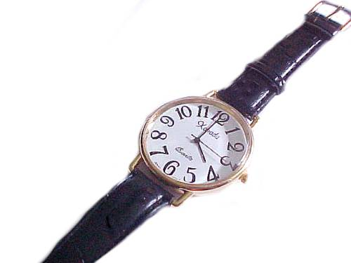 Men's Watch Black Leather Strap to 9 Inch
