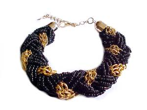 Plus Size Bracelet Black Bead Gold Twist 8 to 10 Inch