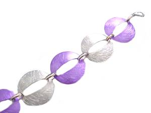 Plus Size Bracelet Oval Silver and Purple 8 -9 Inch