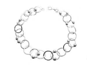 Plus Size Bracelet Sterling Silver Circle and Bead