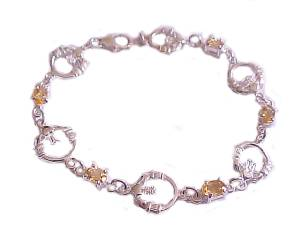 Plus Size Bracelet Sterling Silver Claddagh Citrine