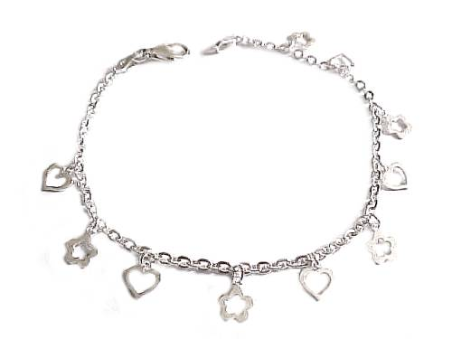 Plus Size Bracelet Sterling Silver Open Heart Charms