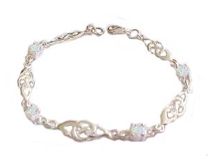 Plus Size Bracelet Sterling Silver Opal Celtic