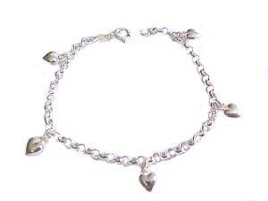 Plus Size Bracelet Sterling Silver Puffed Hearts