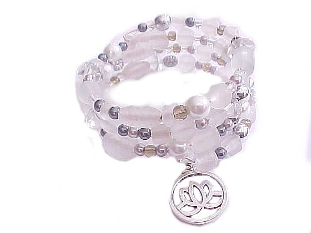 Plus Size Bracelet White Spiral with Lotus Charm