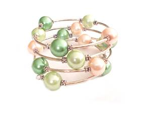 Plus Size Bracelet Peach and Green Spiral