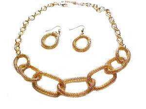 Plus Size Necklace and Earring Set Gold Mesh