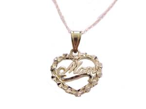 Women's Mom 14k Gold Heart Necklace