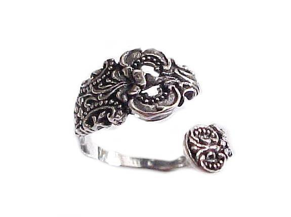 Plus Size Ring Sterling Silver Ornate Spoon Ring