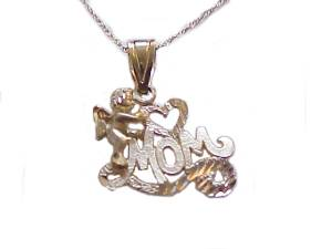 14k Gold Necklace Mom with Cherb Long Chains
