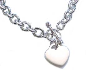 Sterling Silver Necklace Heart Tag Toggle Catch
