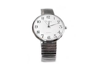 Plus Size Watch Men's Silver Stretch Easy Read