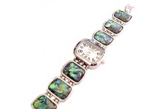Plus Size Watch-Silver Tone Abalone Style 2
