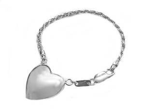 Puffed Heart Sterling Silver Key Chain