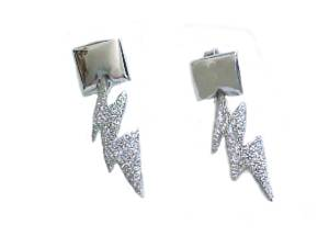 Sterling Silver Earrings Lightening Bolt