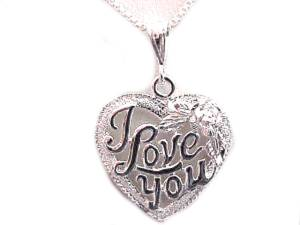 Plus Size Necklace Silver I Love You Heart