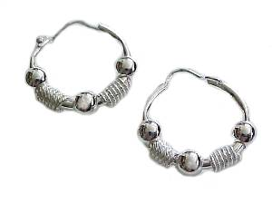 Sterling Silver Bead and Rope Hoop Earrings