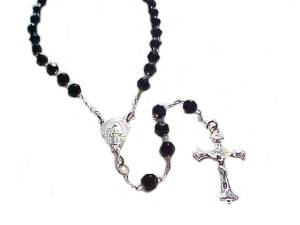 Sterling Silver Rosary Black Faceted Beads 25 In