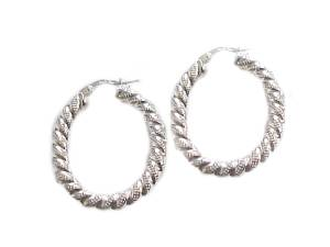 Sterling Silver Earrings Oval Hoop Earrings Fancy