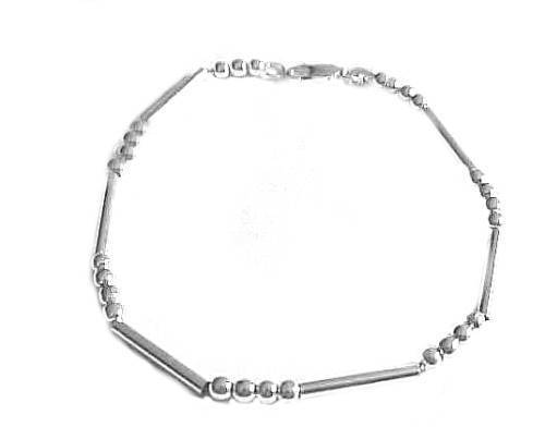 Plus Size Bracelet Silver Beads and Bars