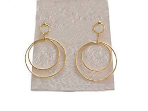 14k Yellow Gold Hoop Earrings Double Hoop