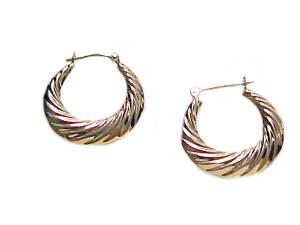 14k Gold Hoop Earrings Swirl Latch Down