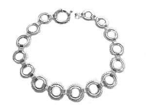 Plus Size Bracelet Sterling Silver Circle Link