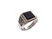 Men's Plus Size Ring Sterling Silver Onyx Celtic