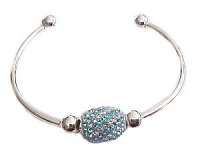 Plus Size Bangle Bracelet Cuff Blue Crystal