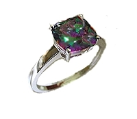 Rainbow Topaz Plus Size Ring Sterling Silver