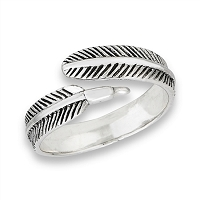 Plus Size Ring Sterling Silver Single Feather