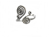 Large Size Ring Silver Double Spirals