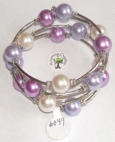 Purple, Light Purple and White Bracelet Size 8-9-10