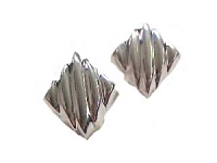 Ribbed Sterling Silver Clip On Earrings