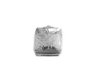 Sterling Silver Pill Box Small Square Etched