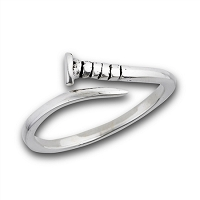 Sterling Silver Plus Size Ring - Nail
