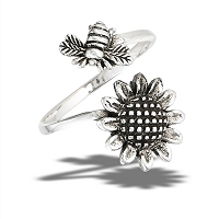 Bumble Bee and Sunflower Large Size Ring