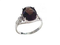 Plus Size Ring Sterling Silver Smoky Quartz