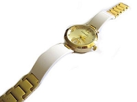 Plus Size Watch Gold and White 8 Inch