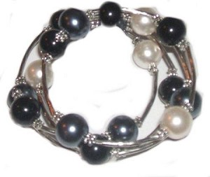Large Size Black, White and Gray Bracelet 8-9-10