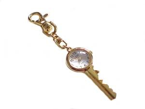 Key Chain Key Design With Watch in Gold Tone