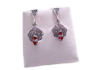 Marcasite Sterling Silver Earrings with Garnets