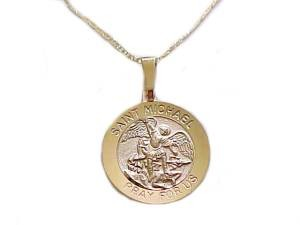 14k Yellow Gold Saint Michael Medal Necklace