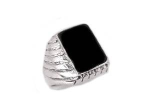 Men's Ribbed Black Onyx Sterling Plus Size Ring